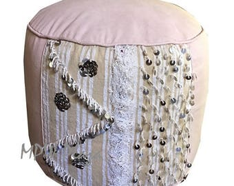 NEW COLLECTION- Tabouret Handira  Leather Moroccan Pouf / Ottoman