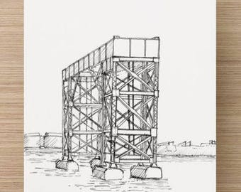 Ink sketch of steel structure in Baltimore, Maryland