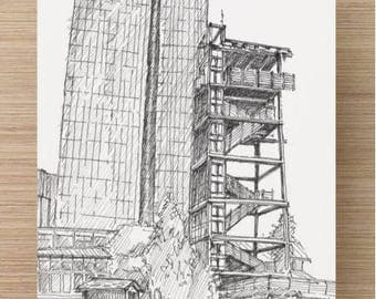Ink sketch of Living Classrooms Observation Tower