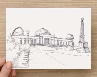 Ink Sketch of Griffith Observatory in Los Angeles, California - Drawing, Art, Pen and Ink, Architecture, Hollywood Hills, 5x7, 8x10, Print