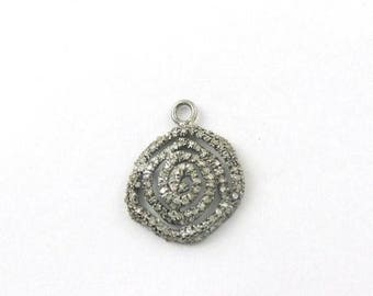 VALENTINE DAY SALE 1 Pc Pave Diamond Designer Charm Over 925 sterling Silver Pendant - 20mmx16mm Pdc180