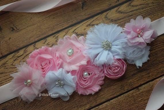 Sash, pastel pink white Sash , flower Belt, maternity sash,flower girl sash