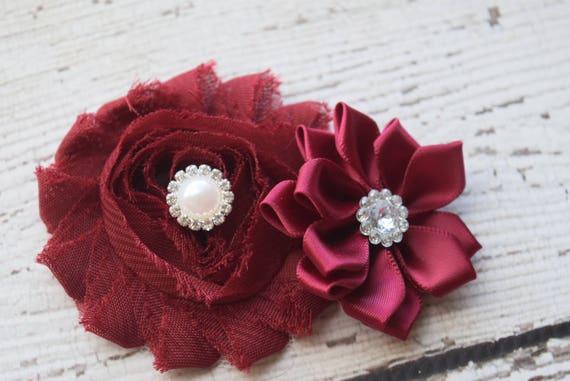 Burgundy light pink Flower Baby clip, Newborn clip,  Infant Headband,Baby Headband, Headband Baby, Baby Headband, baptism  headband
