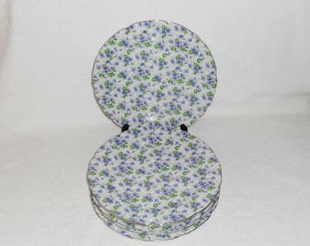 Lefton China Violet Chintz Porcelain Luncheon Plates Purple Floral Unused ~ Set of 6