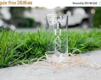 """10% OFF SALE Thanksgiving Vase, Hand Engraved with """"Give Thanks"""" with Ribbon and Pearl"""