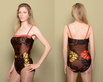 womens one piece swimsuit vintage brown black yellow red floral pattern bathing suit one piece swimwear spaghetti strap Lea Gottlieb M/L