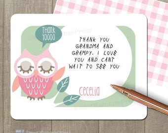 Child Thank you card Child thank you notes Girl Thank You Notes Owl Birthday Pink Owl Printed Notecards Owl Note Cards Personalized Notecard