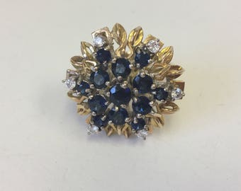 Vintage Sapphire and Diamond  Cluster Ring in 14kt gold