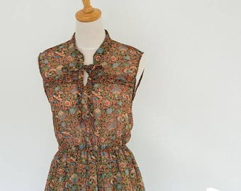 SUMMER SALE Vintage Japanese Floral Dress, Light Airy Chiffon Dress, great for the summer