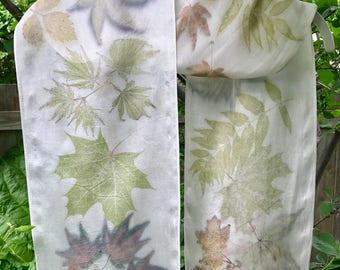 Spring Colors Eco Print Silk Scarf / Natural Dyes / Botanical Print / Japanese Maple