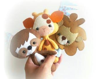 Little Wild Animals set of Three-PDF sewing pattern-Giraffe-Lion-Sloth-Felt ornaments-Plushies-Nursery decor-Baby's mobile toy