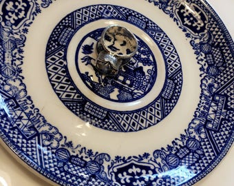 Small blue and white plate