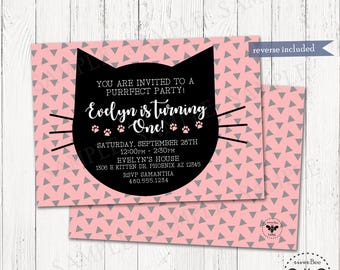 Cat Birthday Party Invitation, Printable Modern Black Cat Party Invite, Digital Print Yourself Cat Birthday Invitations, Purrfect Pawty