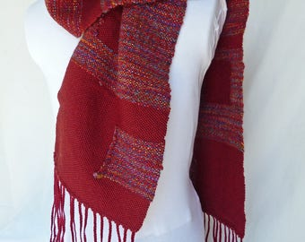 Handwoven Scarf - Maroon with Fun Squares