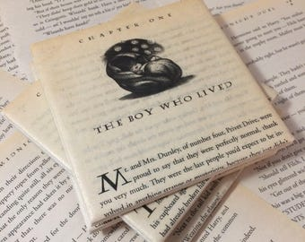 Harry Potter Coasters Book Pages - Harry Potter Coaster - JK Rowling - Sorcerer's Stone - Deathly Hallows - Geek Gift - Harry Potter Gift