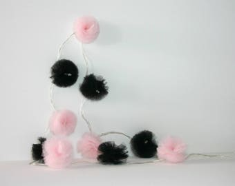 10 Led - Light string with tassels in pale pink and black tulle