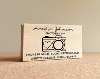 CIJ SALE Personalized Photography Business Card Stamp, Camera Business Card Rubber Stamp