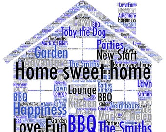 Home Sweet Personalised Wordart A4 Glossy Print Colour Can Be Changed