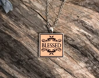 Blessed Pendant Tray Necklace, Group Gift Ideas, Group Discounts, Wedding Gifts, Laser Engraved, Bursting Barns