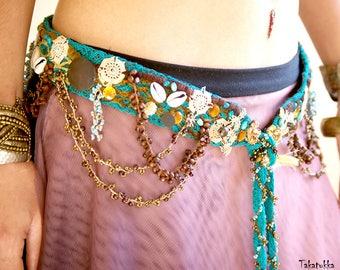 Festival Belt, Jean belt, Chain Belt, Hippie Belt, Beaded Belt, Bohemian Belt,  Gypsy Belt, Coin Belt, Boho Belt, Woman Belt,  Fabric  80