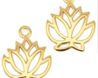 DQ Metal pendant lotus flower-1 piece-19 mm-Zamak-color selectable (color: Gold)