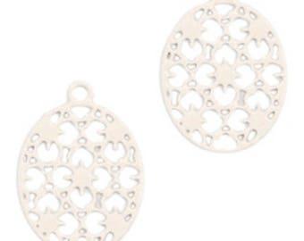Bohemian Pendant-4 pcs.-15 mm-oval shape-color selectable (color: beige)