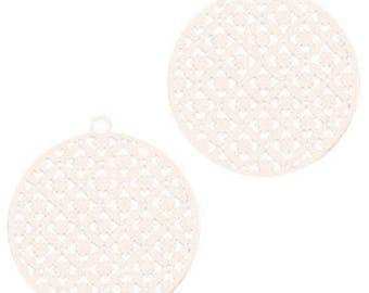 Bohemian pendant with eyelet, round shape-3 pcs.-22 x 20 mm-Color selectable (color: beige)