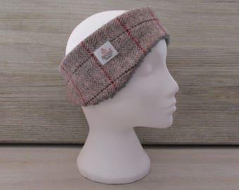 Harris Tweed Pink & Grey Herringbone Luxury Ear Warmer Headband