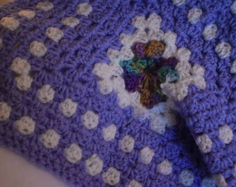 Lavender Granny Square Cat Mat -- Crochet Pet Blanket with Pastel Purple, Soft White, & a Center of Greens and Blues