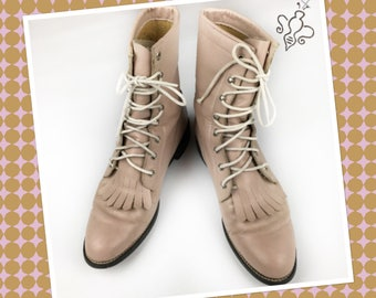 Pink Lace Up Western Boots, 8A
