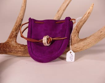 Purple Suede Pouch with deer antler closure