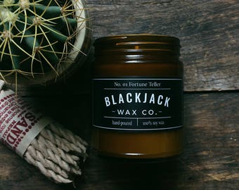 No. 01 FORTUNE TELLER Blackjack Wax Co. Handmade Soy Wax Candle 1/2 lb. Amber Jar Candle, Scented Candle, Hand Poured Candle, Tarot Candle