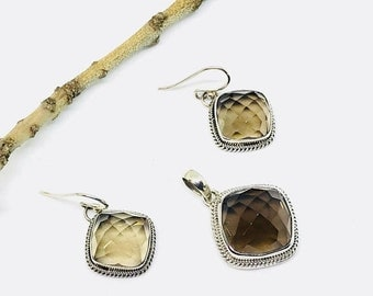 10% Smokey topaz earrings pendant, necklaces set in sterling silver 92.5. Natural gemstones perfectly matched. Checkerboard cut stones.