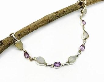 10% Rainbow Moonstone, amethyst bracelet set in sterling silver(92.5).Adjustable length as links attached.Natural gemstones. Lonster clasp.