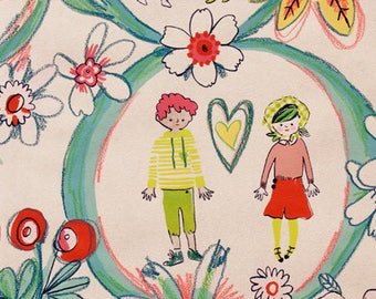 Flower Children linen tea dye Alexander Henry fabric by the yard, kids novelty print fabric, vintage style fabric, quilting sewing apparel