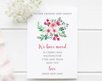 We've Moved Announcement, A6,  Personalise, New Home, New Address, Watercolor Flowers, DIY Printable or Printed Cards