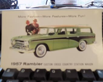 Vintage 1957 Rambler Custom Cross Country Station Wagon Post card See scan Automobilia