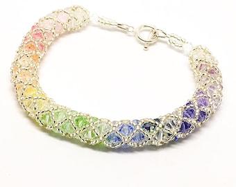 Pastel rainbow Swarovski spiral bracelet - sterling silver clasp - 4mm Swarovski beads - rainbow bracelet