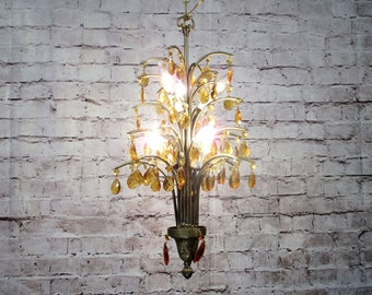 Palm chandelier etsy antique vintage chandelier palm tree amber crystals rewired 8 light fixture 2avl aloadofball Choice Image