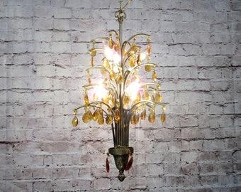 antique vintage chandelier palm tree amber crystals rewired 8 light fixture 2avl