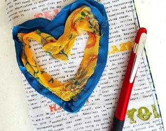 Love Heart Quilted Journal / Journal Notebook / Writing Journal / Handmade Journals / Thoughtful Gifts / Personal Journal / Small Journal