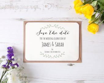 Personalised Plant Leaves Design Save The Date Cards Natural Vintage Rustic