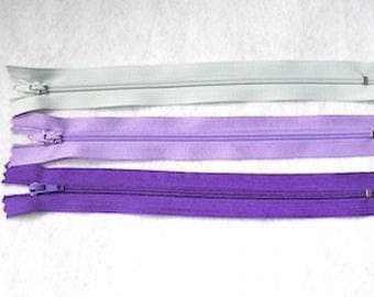 "Zips pack 3 purple mix zippers 8"" pack of 3  8"" zip zipper 8 inch (20cm) purple mix"