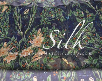 Liberty of London Navy Blue Crinkled silk chiffon by the yard