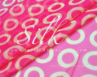 Shocking pink georgette silk circle fabric by the yard
