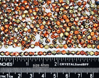 600 Jet California Golden Rush coated 4mm, Preciosa Czech Fire Polished Round Faceted Glass Beads, Czech Glass Fire Polish Beads loose