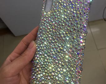 IPhone X with mixed size crystal AB silicone soft flexible case