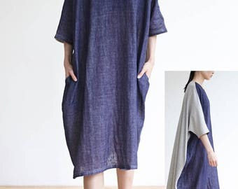 Womens Plus Size Dress,Linen Cotton Batwing Sleeve Dress with a belt,Blue and Grey Loose Fit Dress Summer