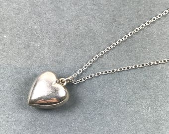 Vintage Sterling silver puff heart pendant necklace
