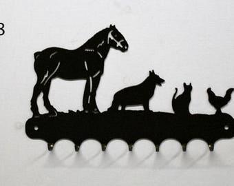 Hangs 26 cm pattern metal keys: farm animals
